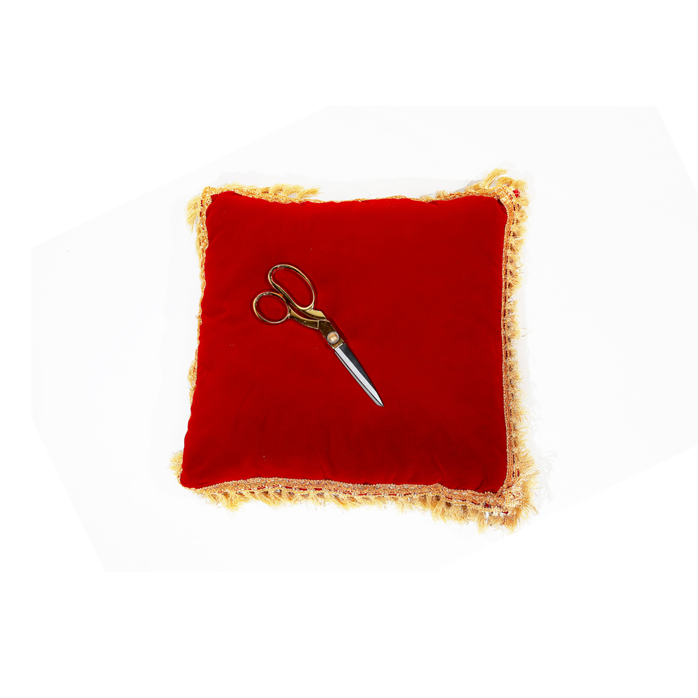 RED CUSHION & SCISSORS